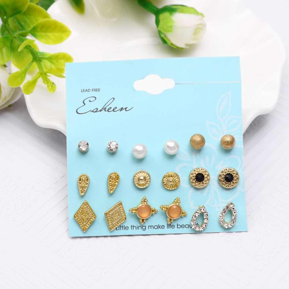 Hesiod 9pairs Women Opals Crystal Round Circle Stud Earrings Gold Silver Color Piercing Simulated Pearl Square Earrings Sets