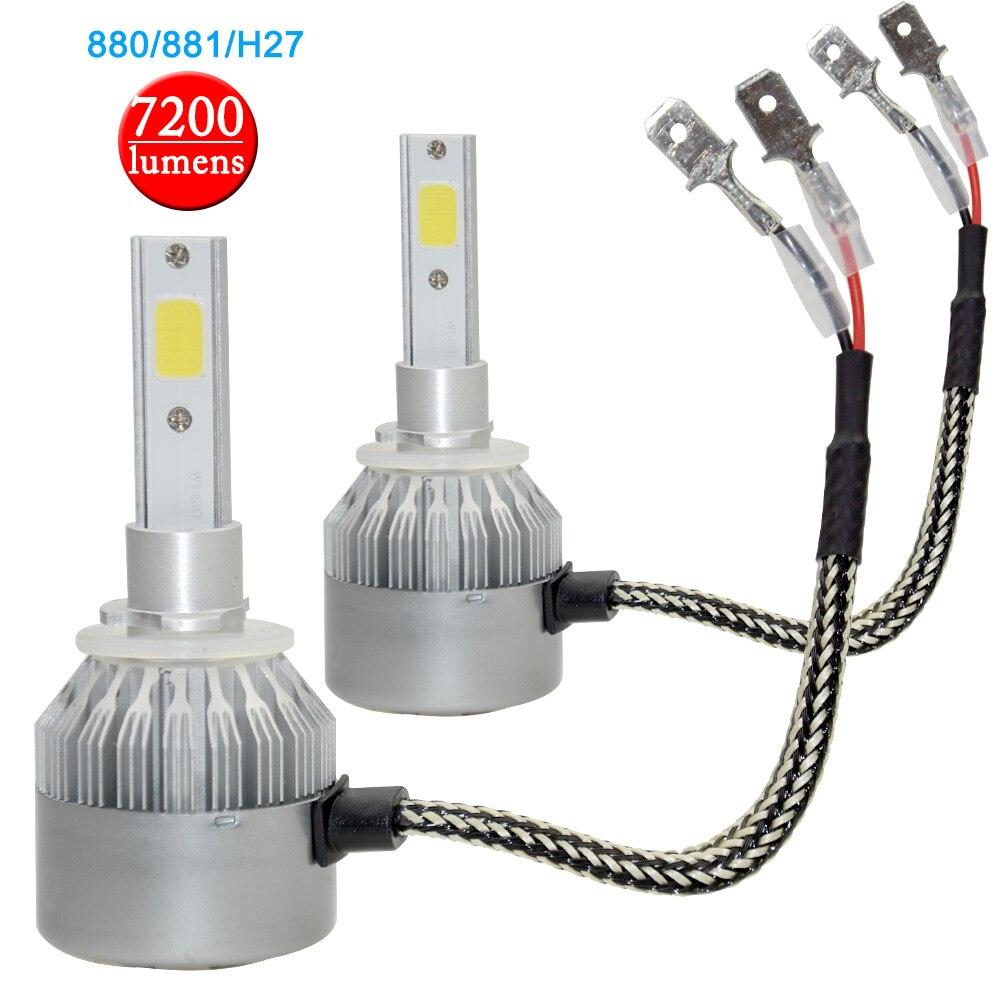 2 pieces H27 880 881 CREE Chip COB Led 40W Replacement 7200Lm Car DRL Fog Headlight Conversion Driving Bulb Car Light Source лампа автомобильная avs atlas anti fog h27 881 12v 27w