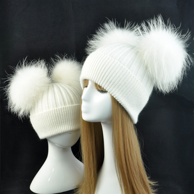Cashmere Winter Hat for Children and Women Parent Baby Boys Wool Caps Warm  Bobble Knitted Hat Double Real Fur Pompom Beanie Hat e0b76add05