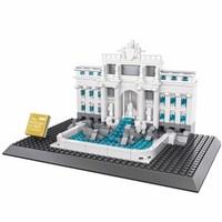 Wange City Architecture The Roma Trevi Fountain Model Building Blocks Enlighten Figure Toys For Children Christmas Gift