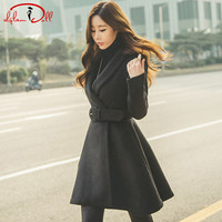 2019 Winter Thick Wool Blend Coat Women Notched Solid Black Pleated Swing Outer Wear Belt
