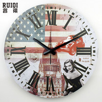 Venta al por mayor marilyn monroe decoración de la pared relojes de gran tamaño silencioso dormitorio decoración vintage reloj de pared pared de gran tamaño del reloj del regalo