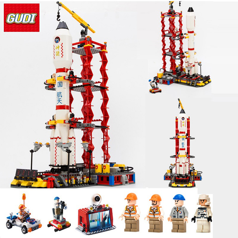 GUDI Blocks Compatible Legoe City Assembly Building Blocks Space Shuttle Launch Center Model Block DIY Bricks Minecrafted Toys gudi block city large passenger plane airplane block assembly compatible all brand building blocks educational toys for children