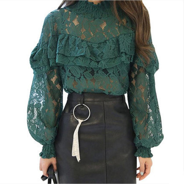 Long Lantern Sleeve Lace Tops Ladies 2017 Spring Elegant Women Ruffle Lace Blouse Sexy Hollow Out Lace Shirt blusas femininas