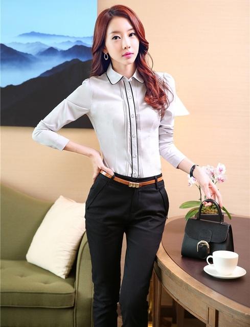 2015 Primavera Outono Novidade Projeto Uniforme Pantsuits Formais Para Senhoras Blusa E Calças Calças Femininas Das Mulheres de Negócio Trabalho Conjuntos
