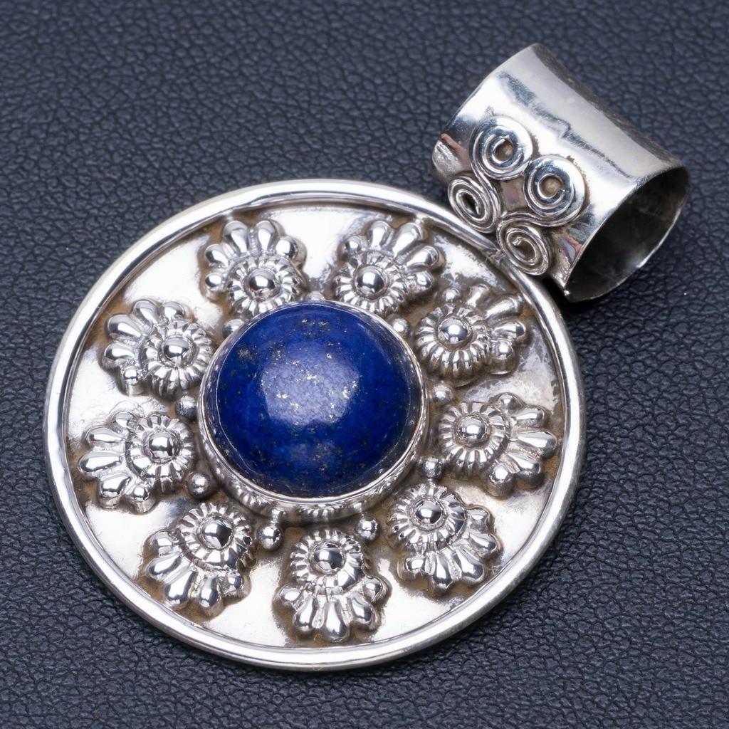 Natural Lapis Lazuli Punk Style 925 Sterling Silver Pendant 1 1/2 Q0305Natural Lapis Lazuli Punk Style 925 Sterling Silver Pendant 1 1/2 Q0305