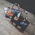 Retro Con Paneles Embroideried Bolsos de Las Mujeres Famosas Marcas de Hombro Pájaro de la Flor de Mano de Las Señoras Bolsos Crossbody Bolsa de Color de La Bufanda