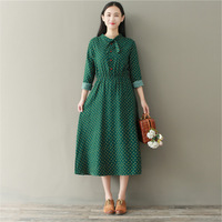 Autumn Spring Mori Girl Stand Collar Bow Floral Printed Long Dress Green Dresses Casual Loose Women Dress M 2XL