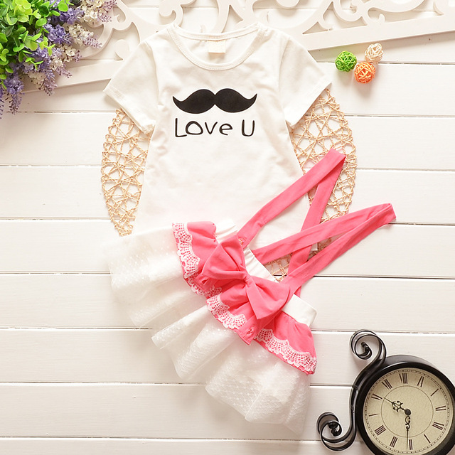 Summer 2015 newborn baby girl dress lace bow princess dress children dress baby carrier + T shirt 2 sets 1-2 years free shipping