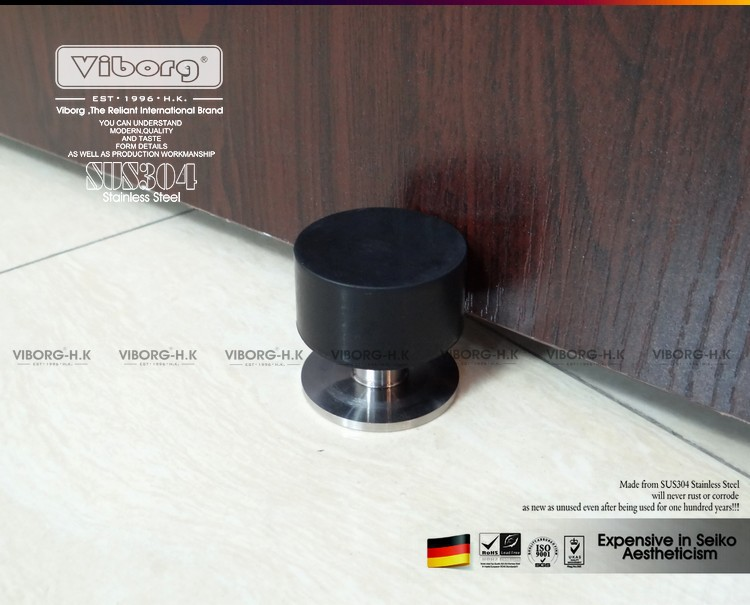 VIBORG SUS304 Stainless Steel Casting + Rubber Floor mounted Wall mounted Door Stopper Door Stops Doorstops, RS-21