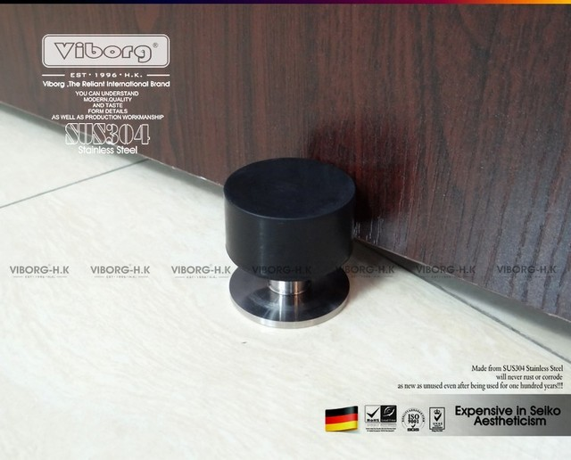 VIBORG SUS304 Stainless Steel Casting + Rubber Floor Mounted Wall Mounted  Door Stopper Door Stops Doorstops