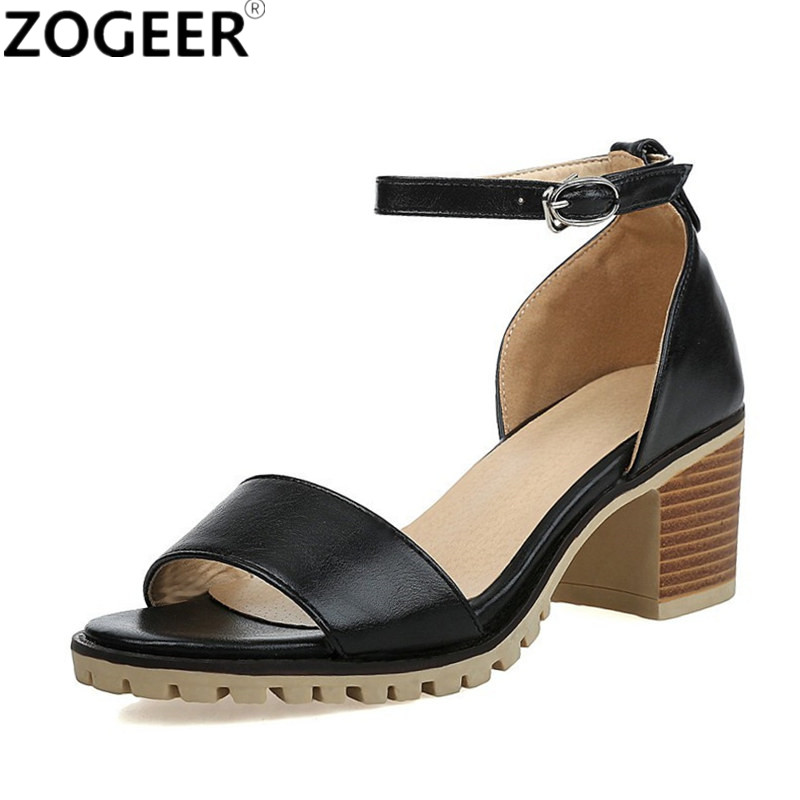 ZOGEER 2017 Hot Women Sandals Plus Size 34-43 Fashion Ankle Strap Shoes Woman Square Heel Summer Medium Heel Ladies Sandals asumer 2018 fashion summer ladies shoes new arrival pink blue square heel sweet women sandals big size 34 43