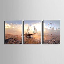 3 Piece Boat On The Sea With Clock Modern Wall Art