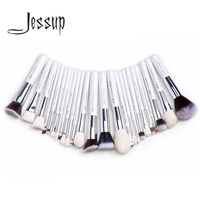 Jessup Pearl White Silver Professional Makeup Brushes Set Make Up Brush Tools Kit Foundation Powder Blushes