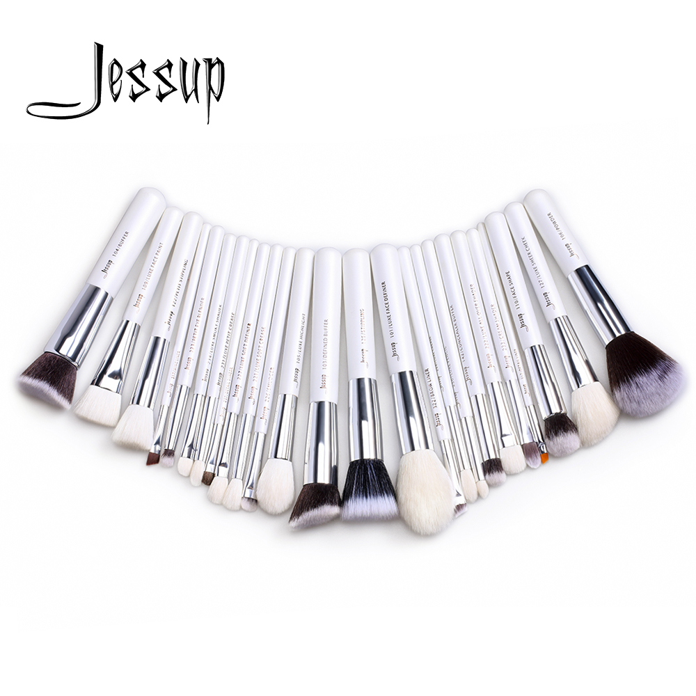 Jessup brushes 25pcs White/Silver Professional Makeup Brushes Set Make up Brush Tools kit Foundation Powder Blushes T235 147 pcs portable professional watch repair tool kit set solid hammer spring bar remover watchmaker tools watch adjustment