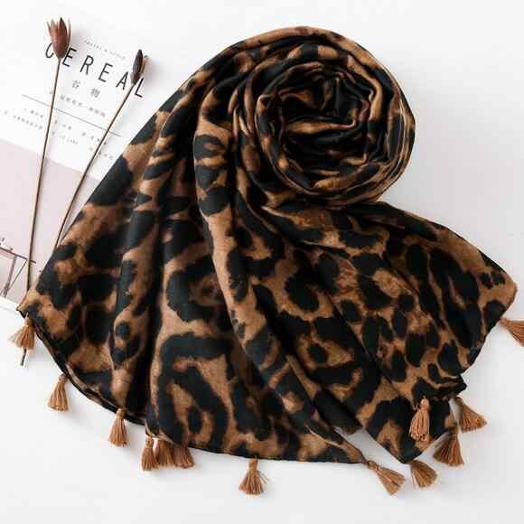デザイナースカーフ 2019 女性の秋春スペインスタイルリネンセクシーなロングヒョウ柄スカーフマフラー女性オフィススカーフ DC512