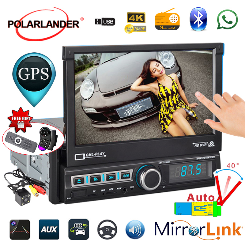 Auto Retractable GPS Navigation for Android 9 Reversing Image Auto 1 DIN 7 Inch Bluetooth Radio Cassette Player Radio AutoVideo image