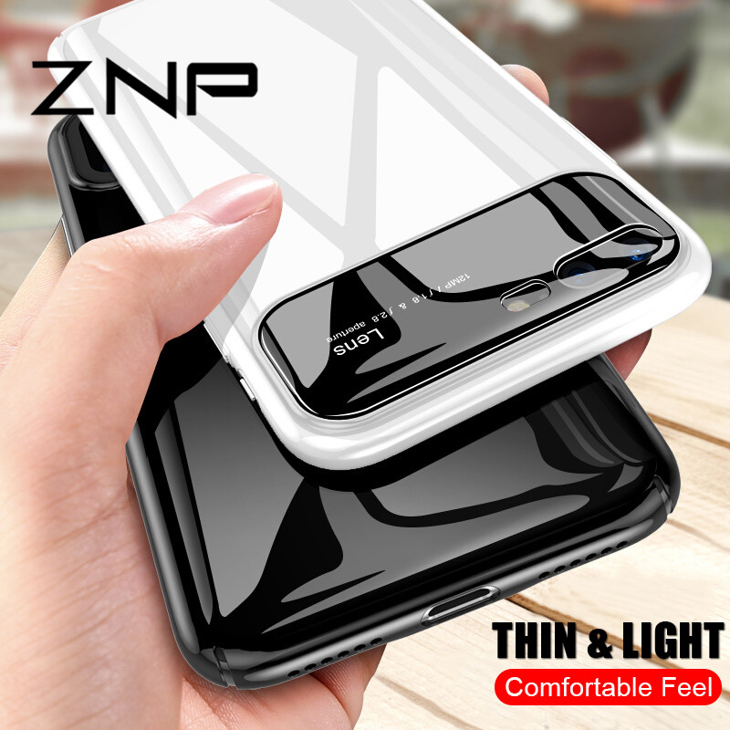 Mua tốt nhất ) }}ZNP Luxury Tempered Glass Case For iPhone 7 6 6s 8 Plus