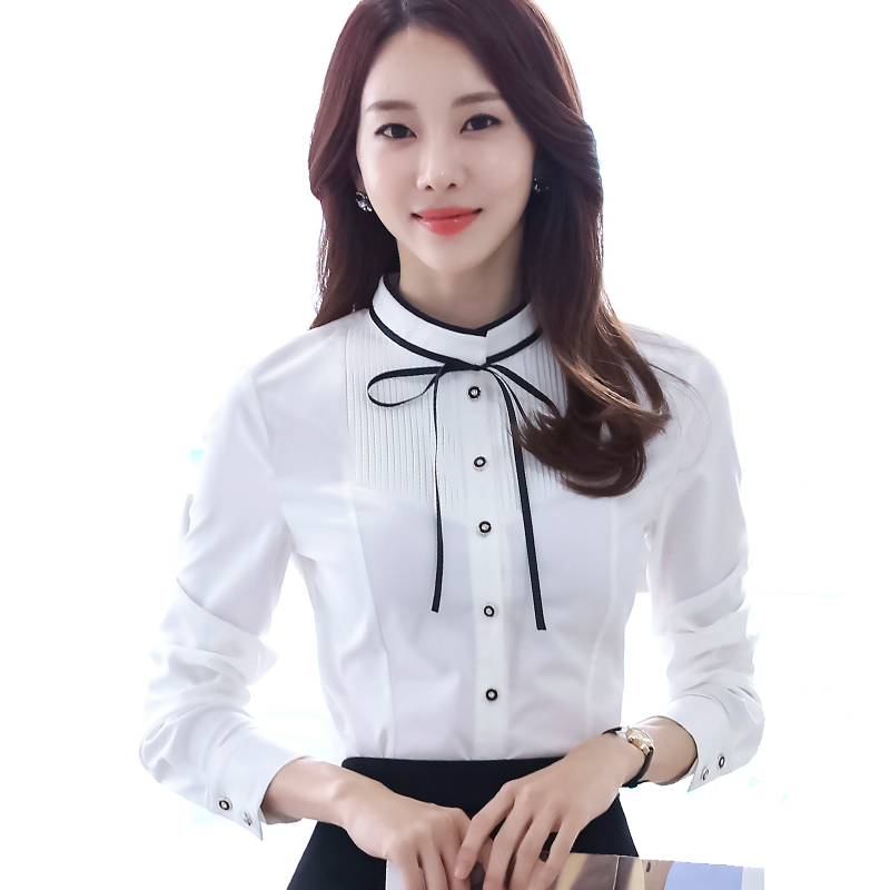 f658e43474d2 Lenshin Pleated Shirt with Tie Work Wear Office Lady Bow Shirts Female  Ruffle Blouse Tops Chemise-in Blouses   Shirts from Women s Clothing on ...