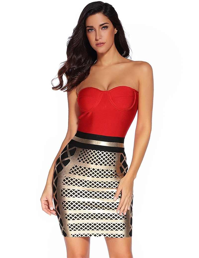 080c6c42d7c33 Leger Babe 2019 New Sexy Women Bodycon Bandage Dress Gold and Red Summer  Patchwork Strapless Glitter Celebrity Prom Party Dress