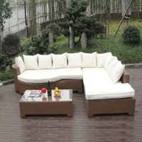 3 pcs Home Lounge Sofa With Pillow , Synthetic Rattan Sleeper Sofa Bed