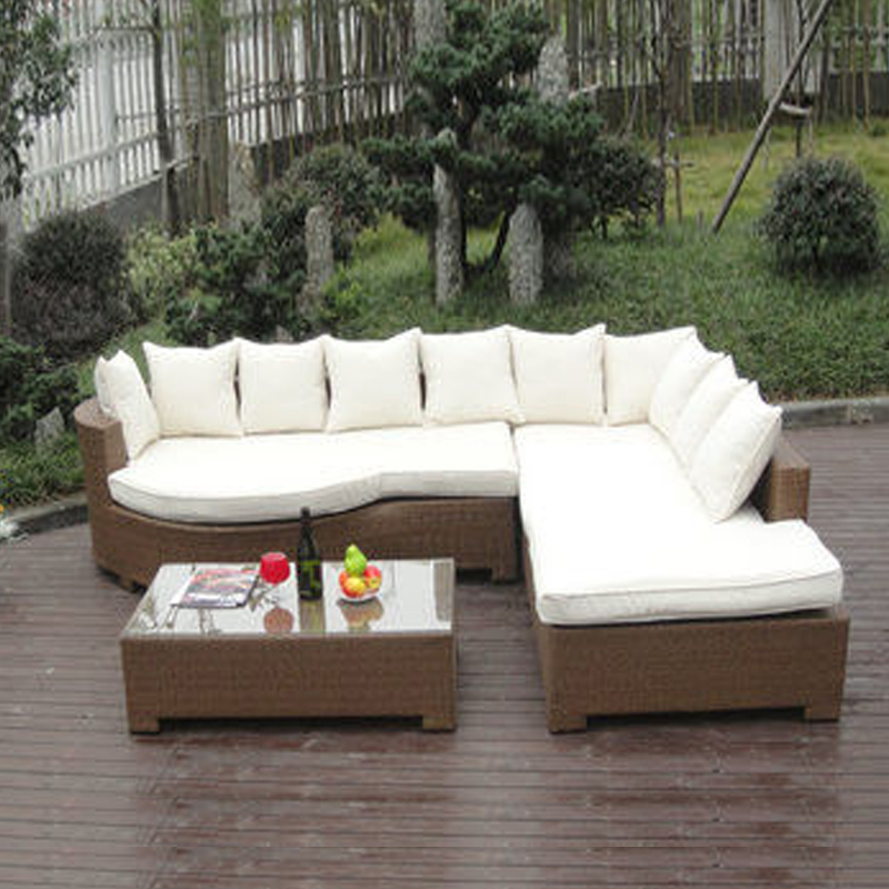 3-pcs Home Lounge Sofa With Pillow , Synthetic Rattan Sleeper Sofa Bed image