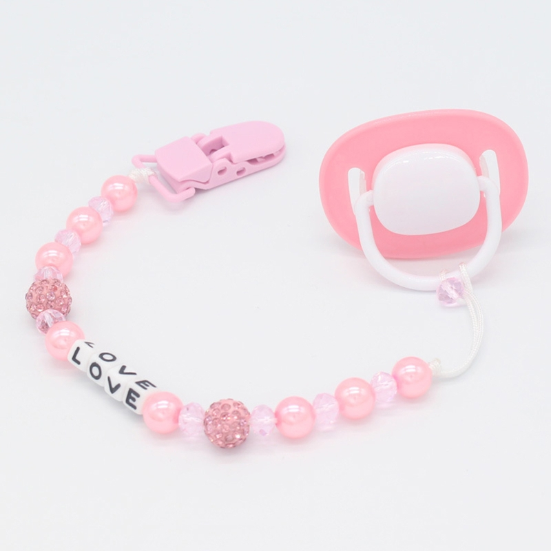 Newest Infant Baby Nipple Chain Anti Drop Clip Handmade Crystal Strap Soother Pacifier Holder JUL27-A