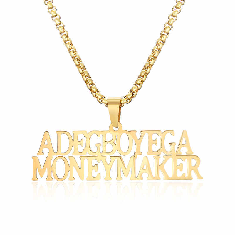 Custom Name Necklace  Gold Color Personalized Any Block Letter Double Nameplat Necklace Pendant For Men Women