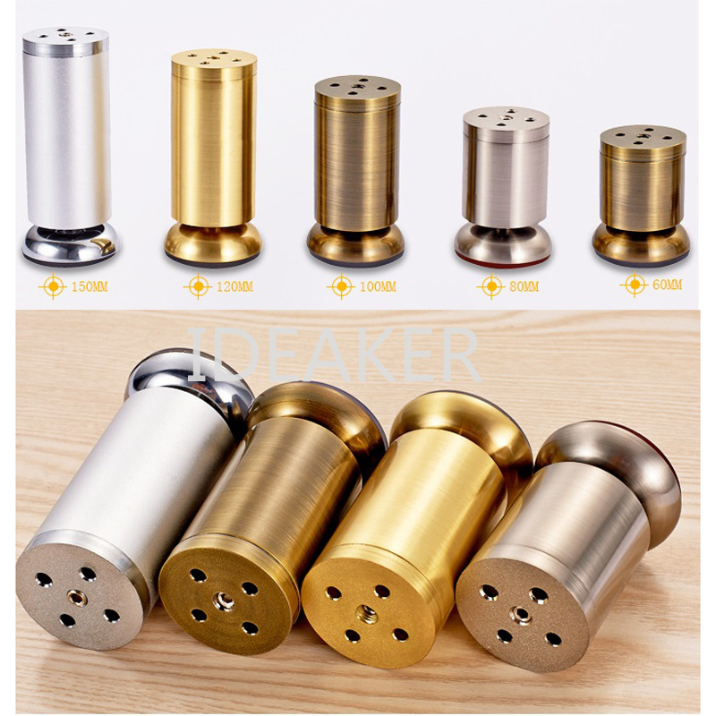 4PCS Aluminum Alloy Furniture Legs Brushed Nickel Table Cabinet Feet 10cm Height 50mm Diameter