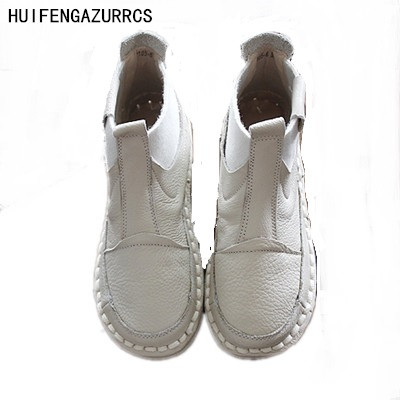 HUIFENGAZURRCS Genuine leather ankle boots Pure handmade flats shoes The retro art mori girl shoes Japanese