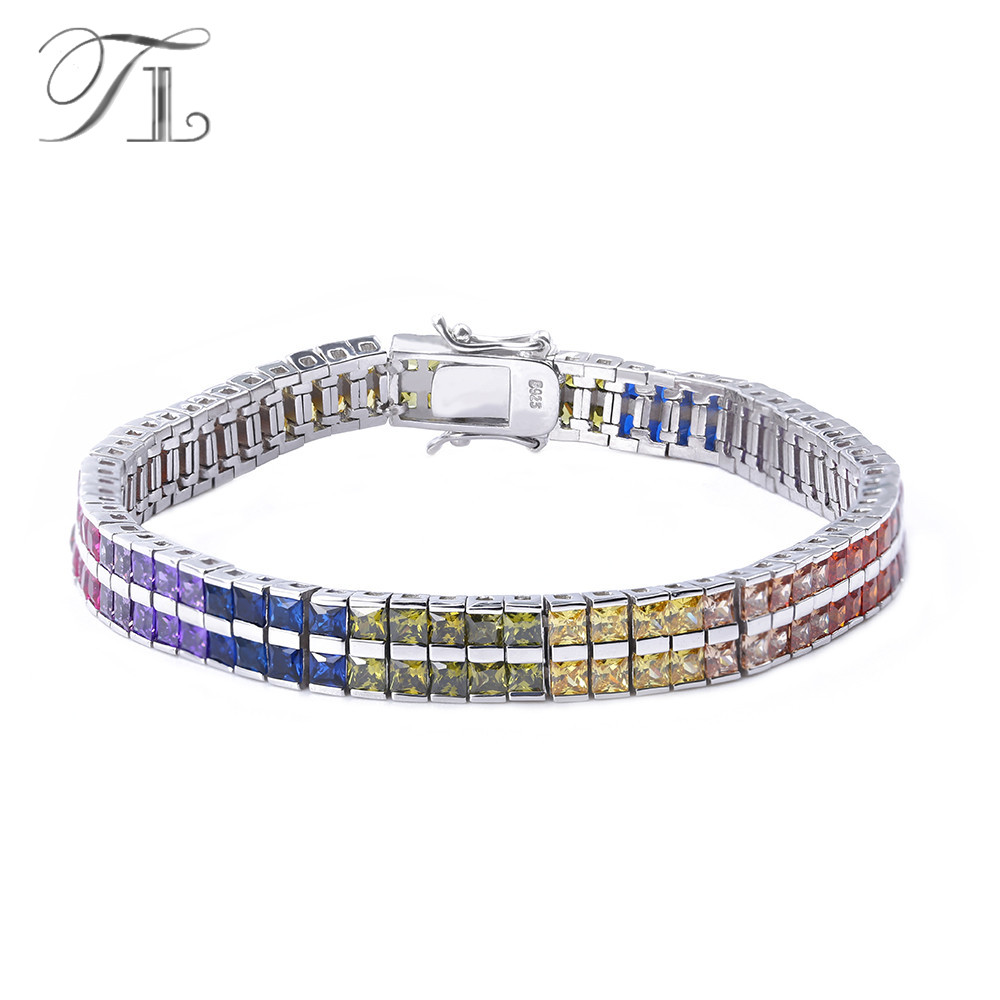 TL 925-Sterling-Silver Bangle Bracelets Two Layers Inlaid Rainbow Cubic Zircon Unique Design Bracelets For Women Silver Jewelry