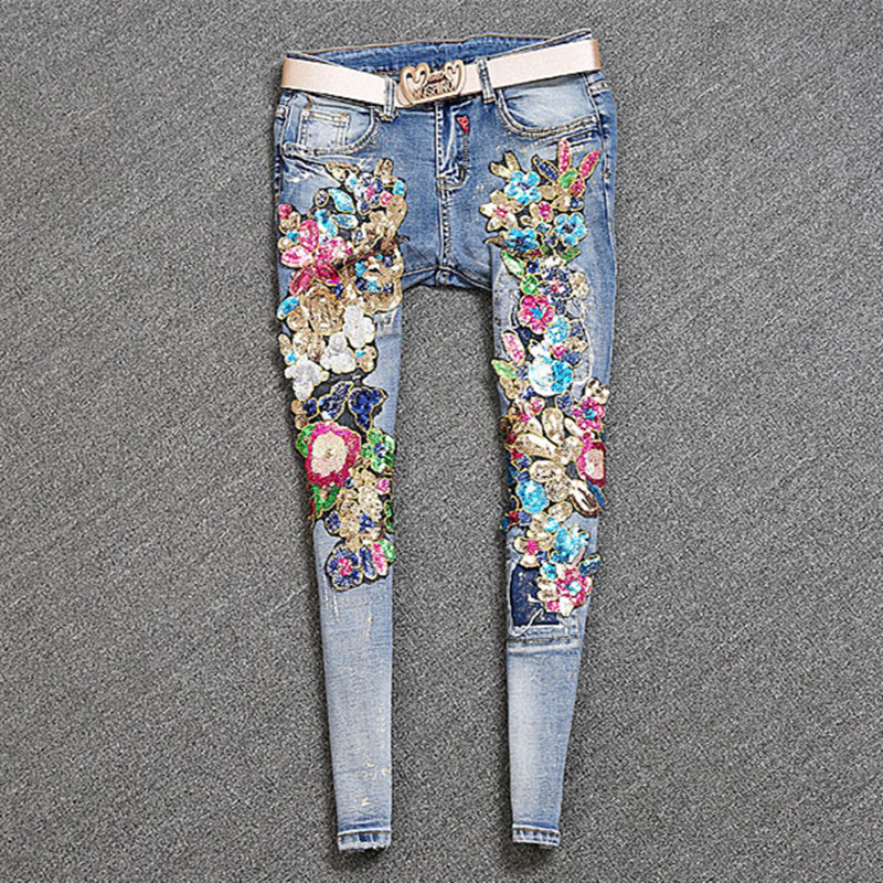 Women Bronzing Sequins Flowers Stretch Ripped Jeans Skinny Retro Denim Pants Pencil Trousers Femme Vintage Casual