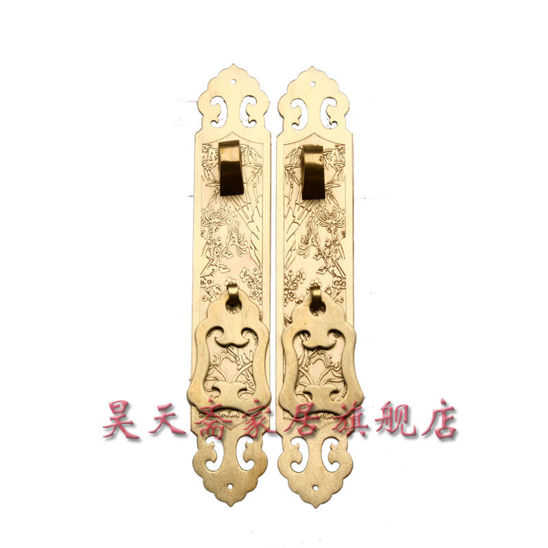 [Haotian vegetarian] copper straight handle / Ming and Qing antique furniture, copper fittings HTC-070 [haotian vegetarian] antique copper straight handle antique furniture copper fittings copper handicrafts htc 041