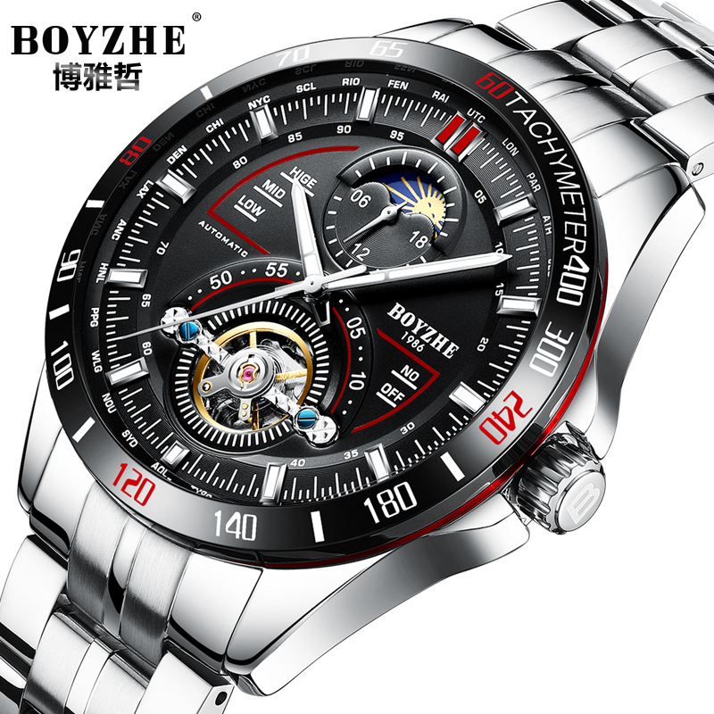 цена luxury BOYZHE brand mens wristwatches Automatic mechanical stainless steel business man watches waterproof moon phase Tourbillon онлайн в 2017 году