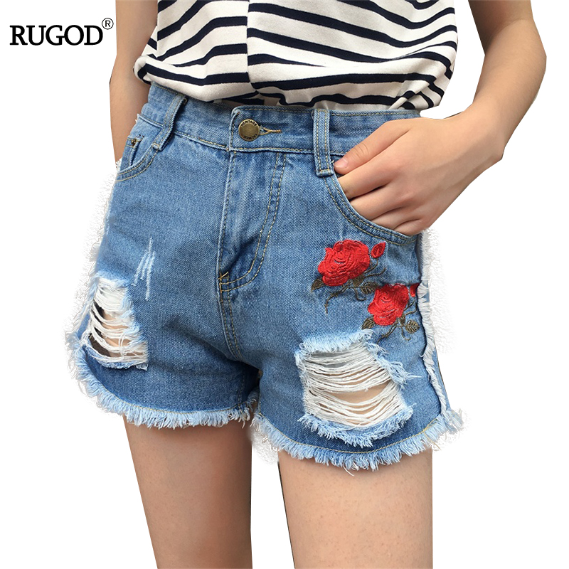 Rugod 2017 New Floral Short Jeans Women Summer Rose Embroidery Ripped Tassel Shorts Feminino Casual Wear High Waist Denim Shorts new denim mesh spliced fishnet sexy jeans shorts high cut vintage cute bikini low rise waist micro mini hot short culb wear f35