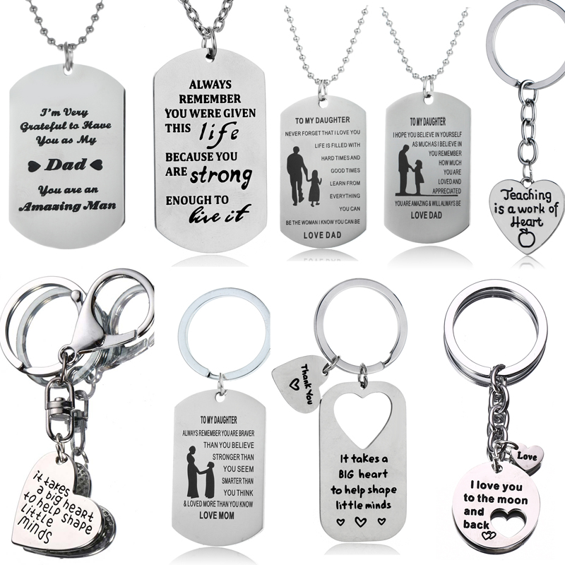 To My Son Daughter Necklace Gifts For Mother Father Teacher Pendant Chain