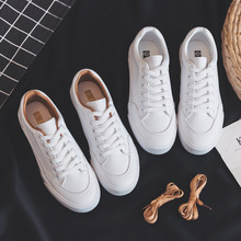 Zapatillas de deporte de cuero para mujer, zapatos planos informales de Tendencia de primavera, cómodas, plataforma vulcanizada, color blanco