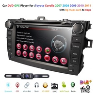 Hizpo Car DVD Player 8 Inch Touch Screen GPS Stereo For Toyota Corolla 2007 2011 iPhone Music/AM FM Radio/SWC/Bluetooth/3G/AV IN