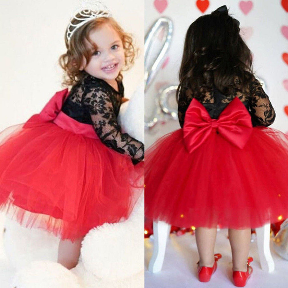 Princess Dress,12Months-5 Years Toddler Kids Baby Girls Lace Floral Long Sleeve Tulle Patchwork Pageant Party Dresses