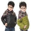 O Envio gratuito de 2016 Meninos Outono Inverno Com Capuz Grosso Quente Para Baixo Casaco de Alta Qualidade Patchwork Ocasional Plus Size Parkas Crianças Outwear