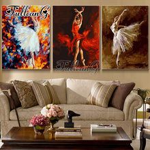 FULLCANG triptych mosaic embroidery dancing girl diy 5d diamond painting cross stitch kits full square drill 3pcs G1191
