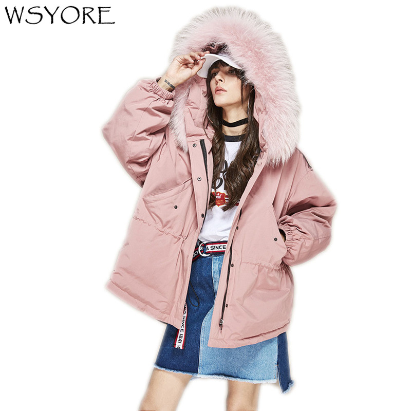 WSYORE Big Real Raccoon Fur Collar Hooded Duck   Down   Jacket 2018 New Winter Jacket Women Loose Thick Outwear   Down     Coat   NS483