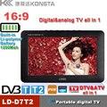 7 polegada TFT 16:9 DVBT2/DVBT digital & analog mini led HD TV portátil tudo em 1 USB Suporte TV record programa