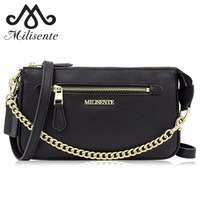 Milisente Women Leather Bag with Gold Chain Blue Orange Ladies Handbag for Party Wedding Clutch Black Women's Office Bags