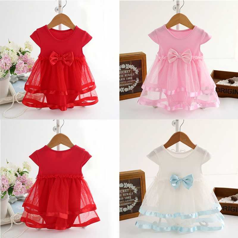 92f464dadad88 Newborn Summer Baby Dress Summer Cotton Bow Baby Rompers For Girl Kids  Infant Clothes Baby Girls Jumpsuit Hot Sale