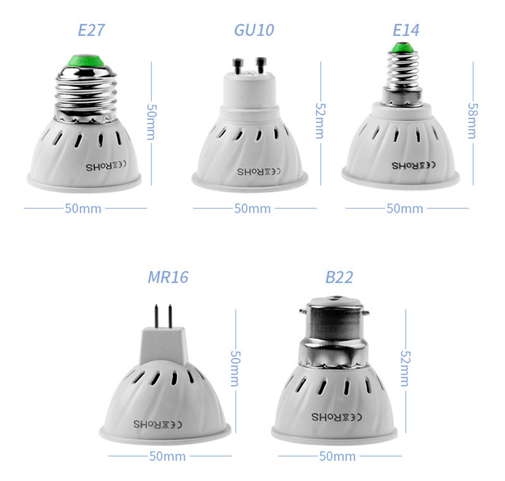 5 PCS/LOT E27 E14 MR16 B22 GU10 Lampada LED Bulb 3W 220V LED Lamp Spot light