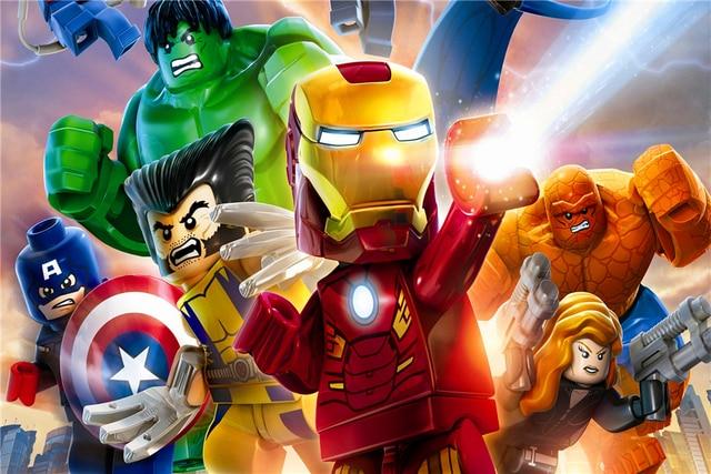 Peinture Murale personnalisée Lego Papier Peint Lego Affiche Iron Man Autocollant Marvel Comics