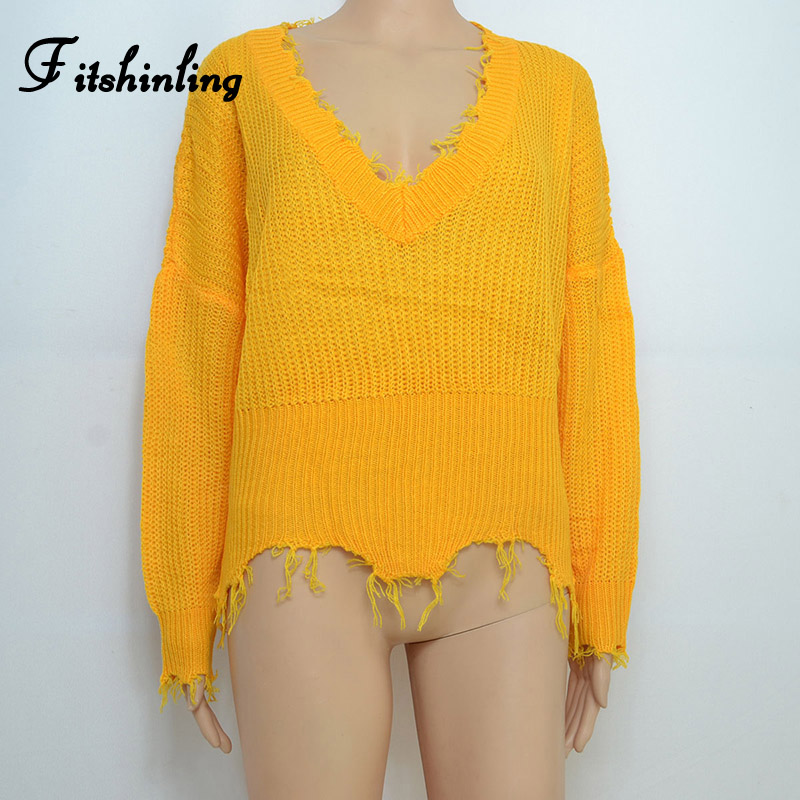 Fitshinling Fringe V Neck Lady's Sweater Yellow Jumper Knitwear Fashion 2019 Winter Women Sweaters And Pullovers Big Size Pull