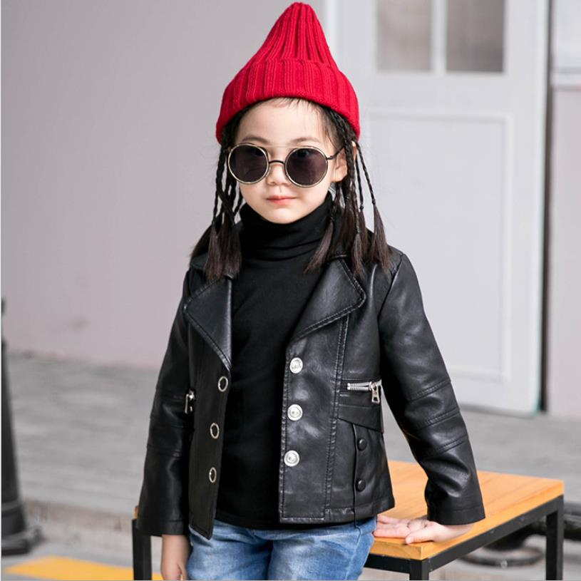 2019 spring autumn new fashion brand Pu leather jackets baby girl long sleeve Single-breasted solid leather coats outerwear ws722019 spring autumn new fashion brand Pu leather jackets baby girl long sleeve Single-breasted solid leather coats outerwear ws72