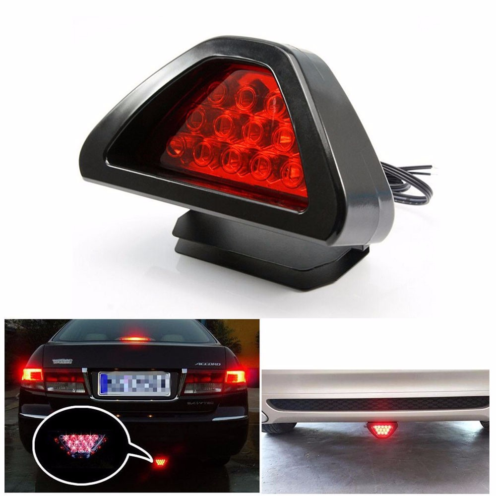2016 New Universal Car F1 Style 12 LED Red Rear Tail Third Brake Stop Safety Lamp Light 12V &Wholesale new universal motorcycle 12 led lamp stop break rear tail red car light lamp fenders